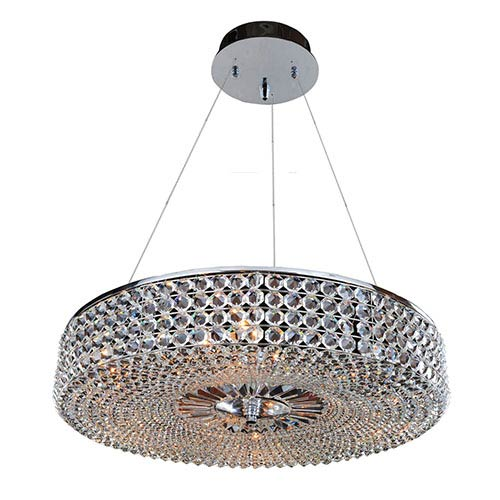 Allegri by Kalco Arche Chrome Nine-Light Round Drum Pendant with Firenze Clear Crystal