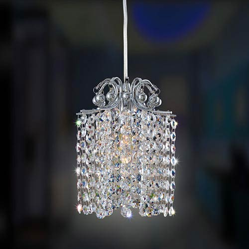 Allegri by Kalco Milieu Chrome One-Light 6-Inch Wide Mini Pendant with Firenze Clear Crystal