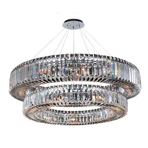 Allegri By Kalco Rondelle Chrome 21 Light Two Tier Round Drum Pendant