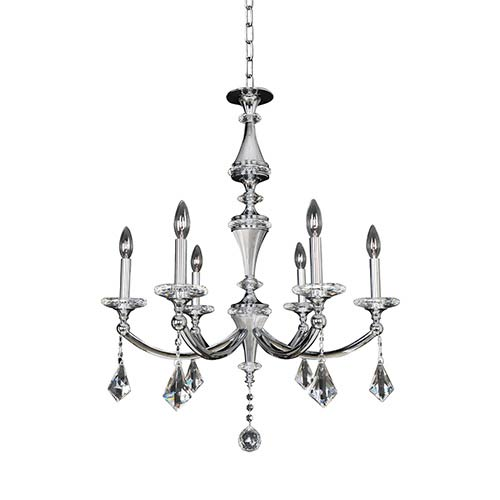 Allegri by Kalco Floridia Polished Chrome Six-Light 27-Inch Wide Chandelier with Firenze Clear Crystal