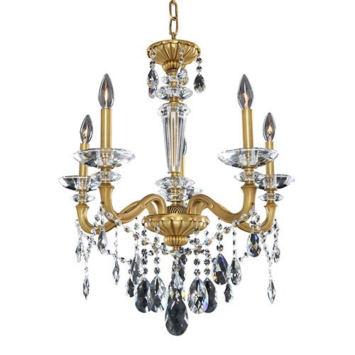 Allegri by Kalco Jolivet Historic Brass Five-Light 23.5-Inch Wide Chandelier with Firenze Clear Crystal