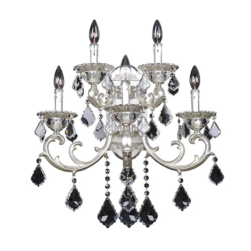 Allegri by Kalco Rafael Two-Tone Silver Five-Light Wall Bracket with Firenze Clear Crystal
