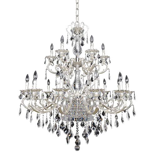 Allegri by Kalco Rafael Two-Tone Silver 21-Light Two Tier Chandelier with Firenze Clear Crystal