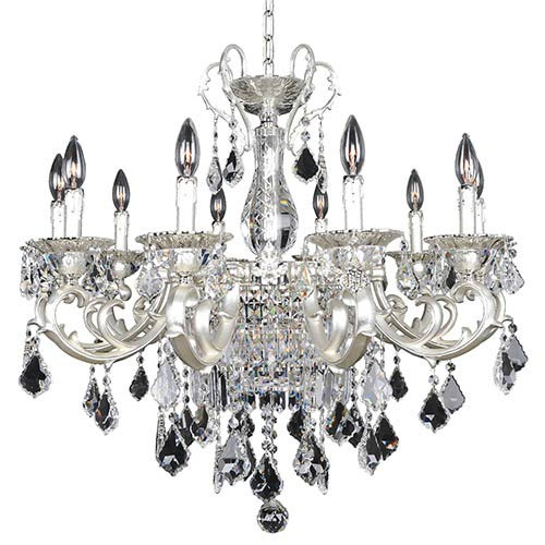 Rafael Two-Tone Silver 13-Light Chandelier with Firenze Clear Crystal