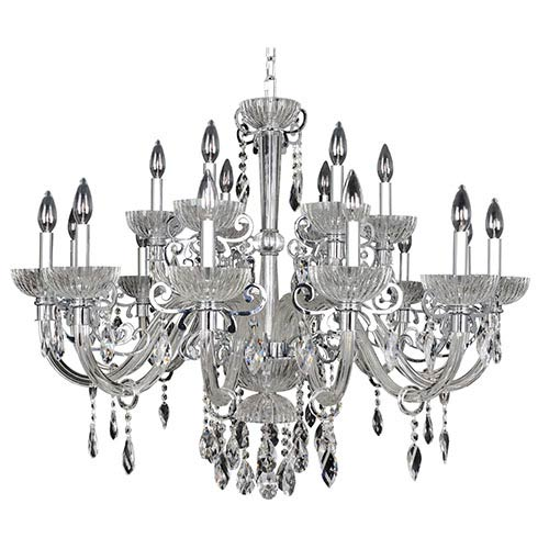 Allegri by Kalco La Valle Chrome 18-Light 38-Inch Wide Chandelier with Firenze Clear Crystal