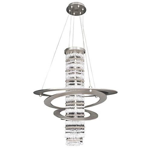 Allegri by Kalco Giovanni Brushed Nickel Five-Light Round Pendant with Firenze Clear Crystal