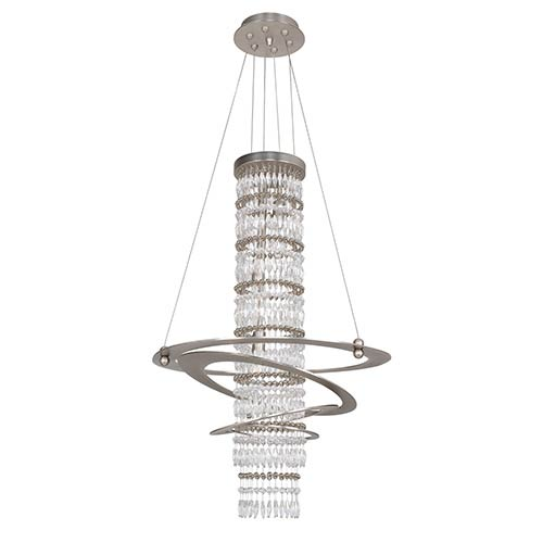 Giovanni Brushed Nickel Three-Light Round Pendant with Firenze Clear Crystal