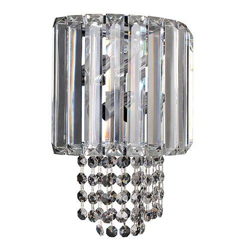 Allegri by Kalco Adaliz Chrome Two-Light Wall Bracket with Firenze Clear Crystal