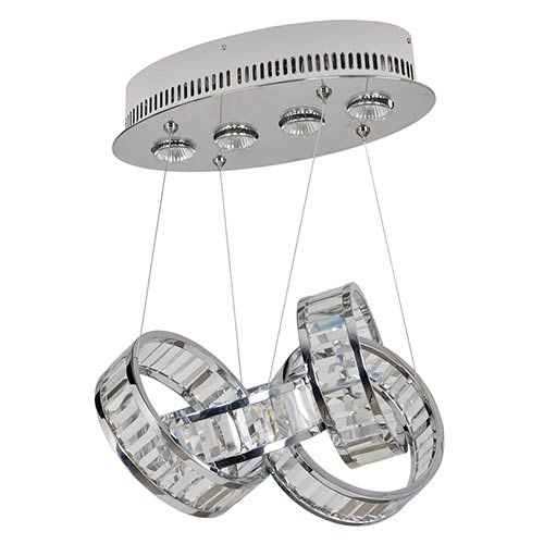 Allegri by Kalco Anastagio Chrome Four-Light Pendant with Firenze Clear Crystal