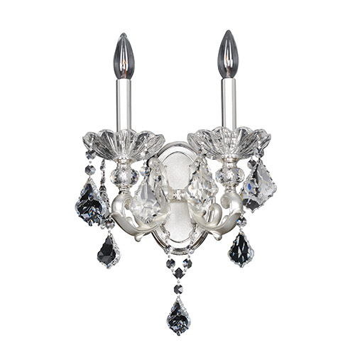 Allegri by Kalco Praetorius Two-Tone Silver Two-Light Wall Bracket with Firenze Clear Crystal