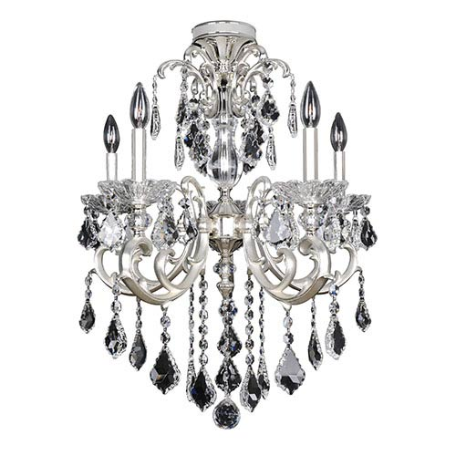 Praetorius Two-Tone Silver Five-Light Flush Mount with Firenze Clear Crystal