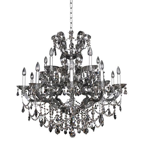 Brahms Chrome 15-Light Chandelier with Firenze Smoked Fleet Argentine Crystal