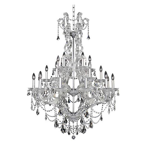 Allegri by Kalco Brahms Chrome 24-Light Chandelier with Firenze Clear Crystal