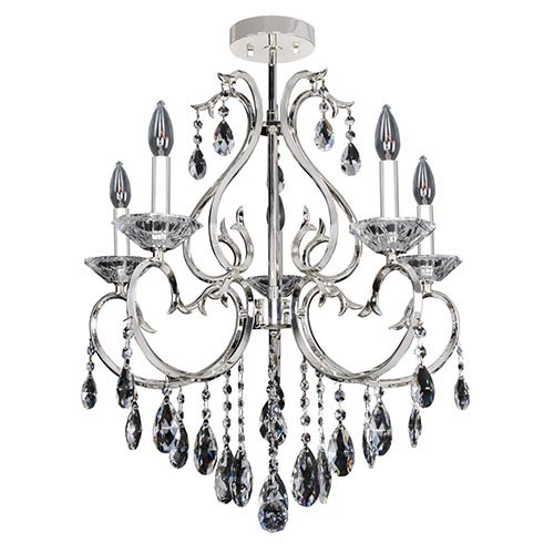 Allegri by Kalco Cesti Silver Five-Light Semi-Flush with Firenze Clear Crystal