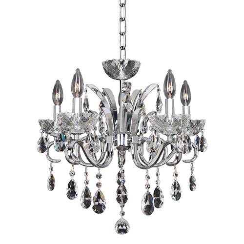 Allegri by Kalco Catalani Chrome Five-Light 20-Inch Wide Chandelier with Firenze Clear Crystal