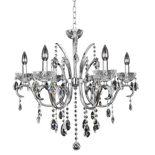 Allegri by Kalco Catalani Chrome Six-Light 26-Inch Wide Chandelier with Firenze Clear Crystal