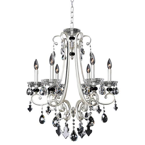 Bedetti Two-Tone Silver Six-Light 24-Inch Wide Chandelier with Firenze Clear Crystal