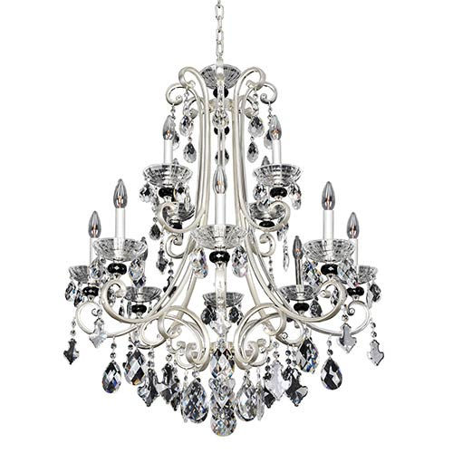 Allegri by Kalco Bedetti Two-Tone Silver 12-Light 32-Inch Wide Chandelier with Firenze Clear Crystal