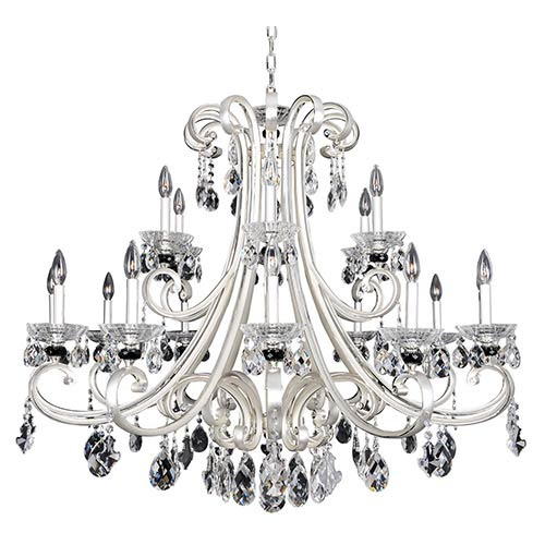 Allegri by Kalco Bedetti Two-Tone Silver 18-Light 42-Inch Wide Chandelier with Firenze Clear Crystal
