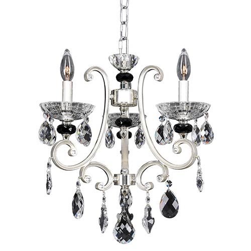 Bedetti Two-Tone Silver Three-Light 17-Inch Wide Mini Chandelier with Firenze Clear Crystal