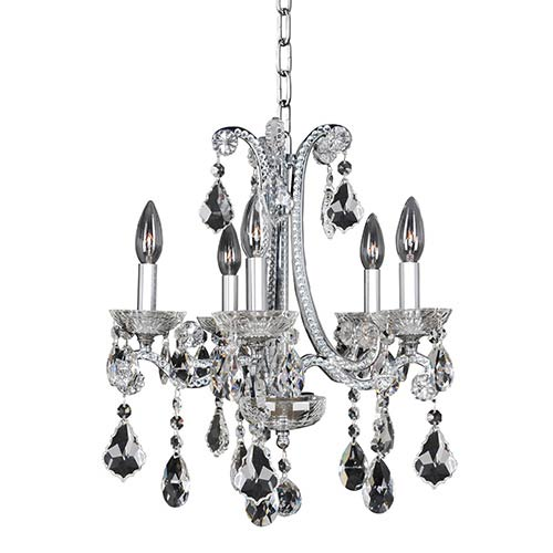 Allegri by Kalco Ferrero Chrome Five-Light Mini Chandelier with Firenze Clear Crystal