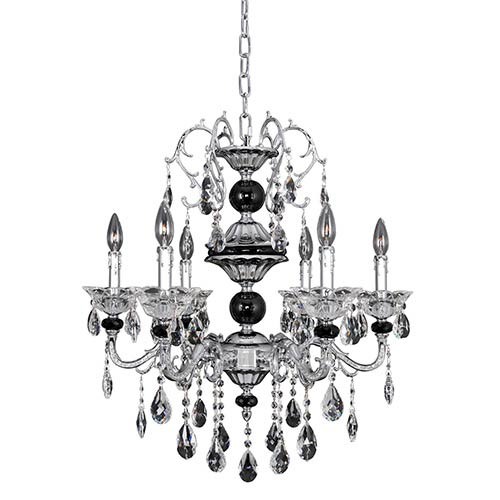 Allegri by Kalco Faure Chrome Four-Light Chandelier with Firenze Clear Crystal