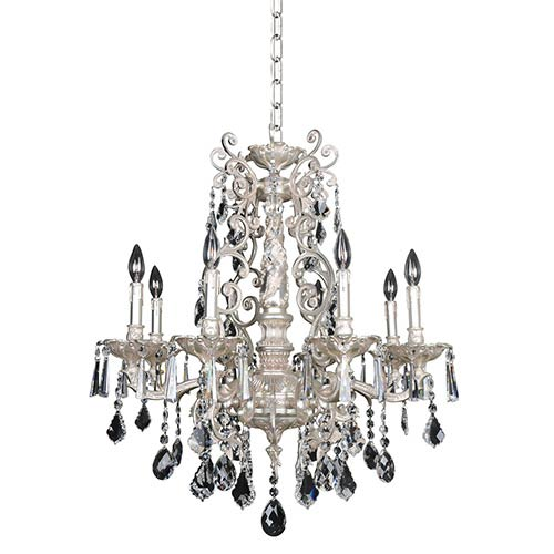 Marcello Antique Silver Eight-Light Chandelier with Firenze Clear Crystal
