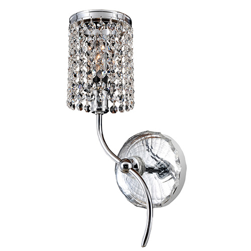 Florien Chrome One-Light Left Wall Bracket with Firenze Clear Crystal