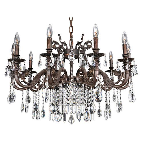 Allegri by Kalco Avelli Sienna Bronze and Antique Silver Leaf 10-Light Chandelier with Firenze Clear Crystal