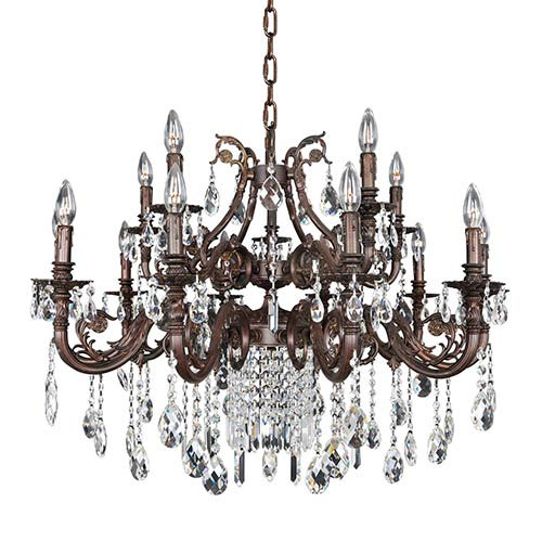 Allegri by Kalco Avelli Sienna Bronze and Antique Silver Leaf 15-Light Chandelier with Firenze Clear Crystal