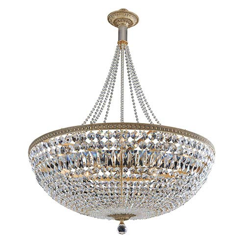 Allegri by Kalco Aulio Antique Gold 13-Light Bowl Pendant with Firenze Clear Crystal
