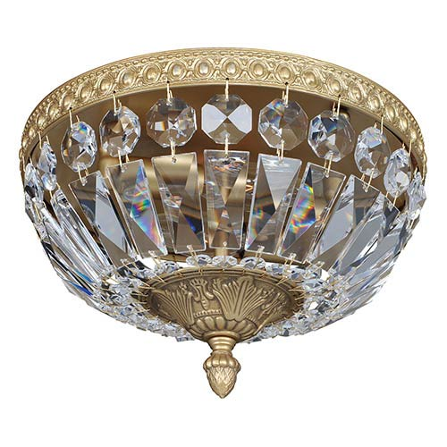 Allegri by Kalco Lemire Antique Gold Two-Light 10-Inch Wide Flush Mount with Firenze Clear Crystal