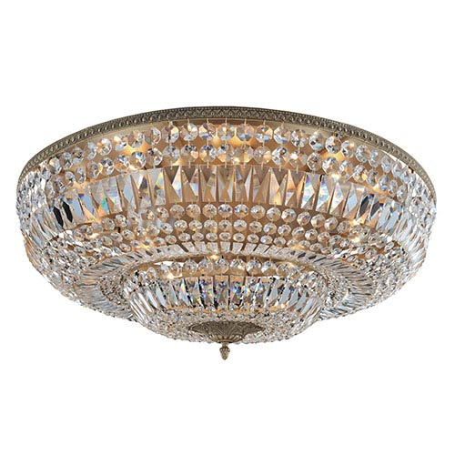 Allegri by Kalco Lemire Antique Gold 14-Light Flush Mount with Firenze Clear Crystal