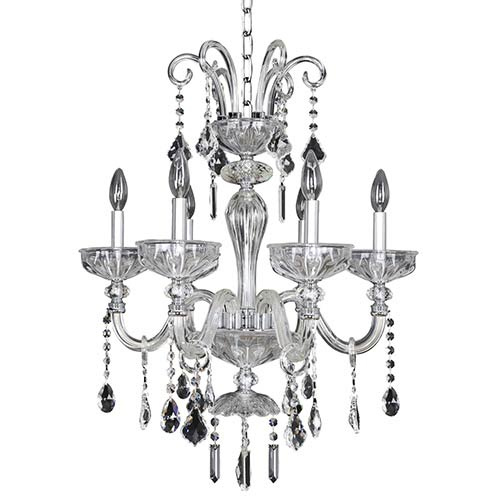 Allegri by Kalco Clovio Chrome Six-Light 23-Inch Wide Chandelier with Firenze Clear Crystal