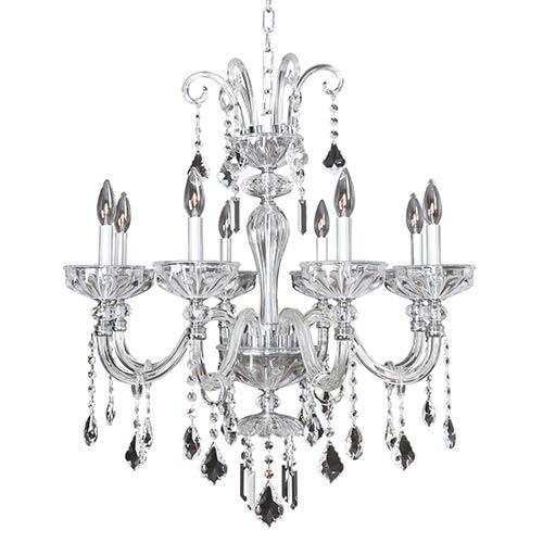 Allegri by Kalco Clovio Chrome Eight-Light 28-Inch Wide Chandelier with Firenze Clear Crystal