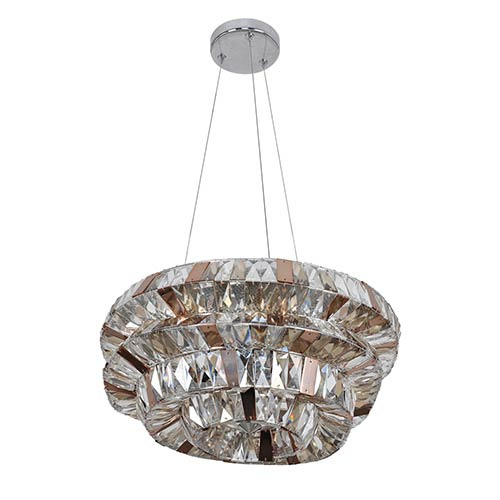 Gehry Chrome Six-Light 18-Inch Wide Bowl Pendant with Firenze Mixed Crystal