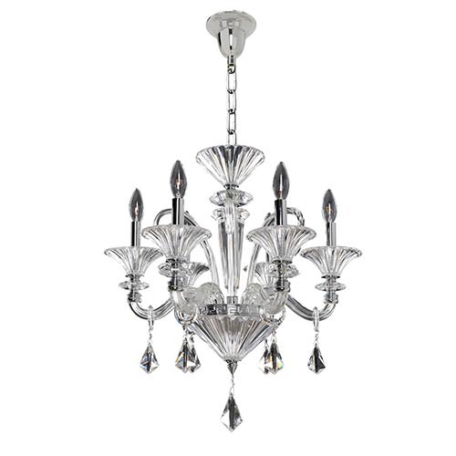 Allegri by Kalco Chauvet Polished Chrome Six-Light 21-Inch Wide Chandelier with Firenze Clear Crystal