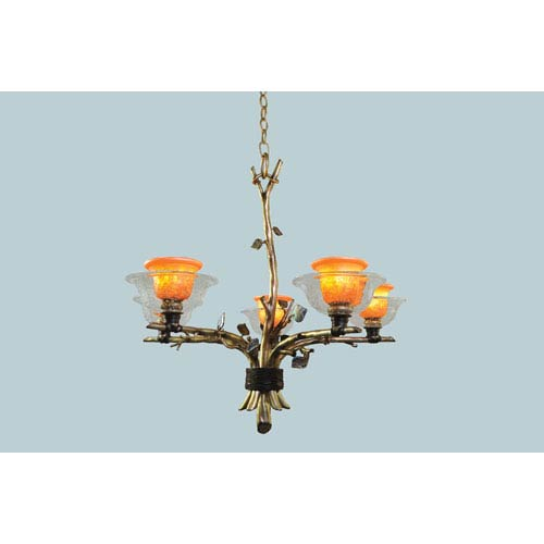 Cottonwood Aged Silver Five-Light Chandelier with Hand Painted Art Glass