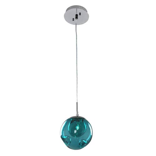 Meteor Chrome 1-Light 6-Inch Mini Pendant with Aqua Glass
