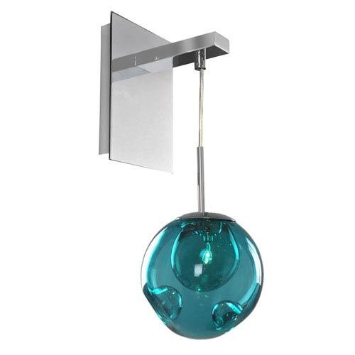 Meteor Chrome 1-Light 6-Inch Wall Bracket with Aqua Glass