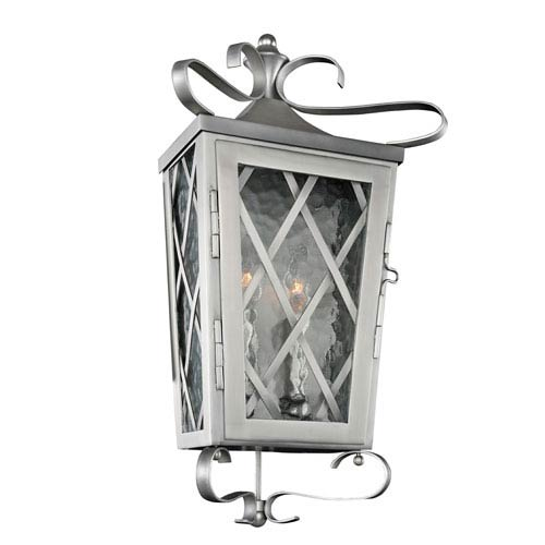 Trellis Stainless Steel 2-Light 10-Inch Outdoor Wall Pocket