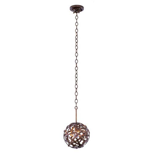 Ambassador Copper Patina 1-Light 8-Inch Mini Pendant