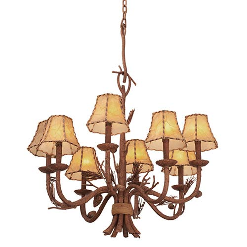 Kalco Lighting Ponderosa Eight-Light Chandelier with Leather-wrapped