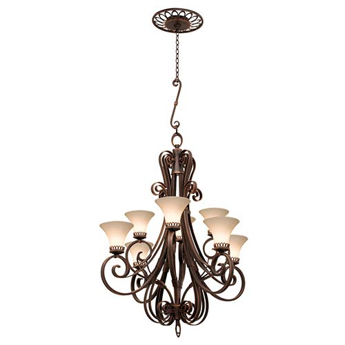 Kalco Lighting Mirabelle Antique Copper Eight-Light Chandelier