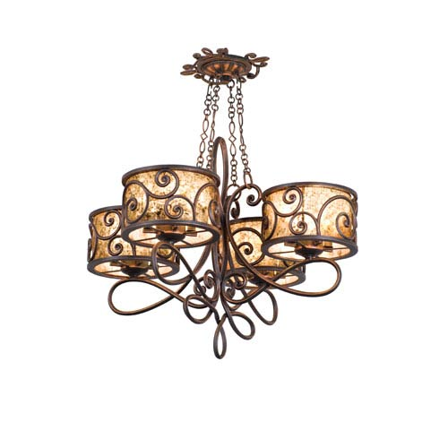Kalco Lighting Windsor Antique Copper Four-Light Chandelier
