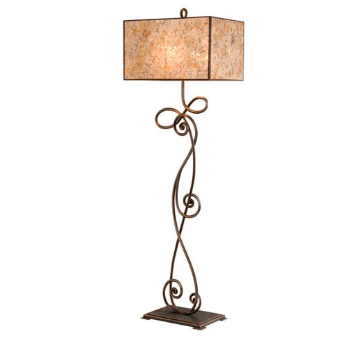 Kalco Lighting Windsor Antique Copper Two-Light Floor Lamp with Stained Mica Shade