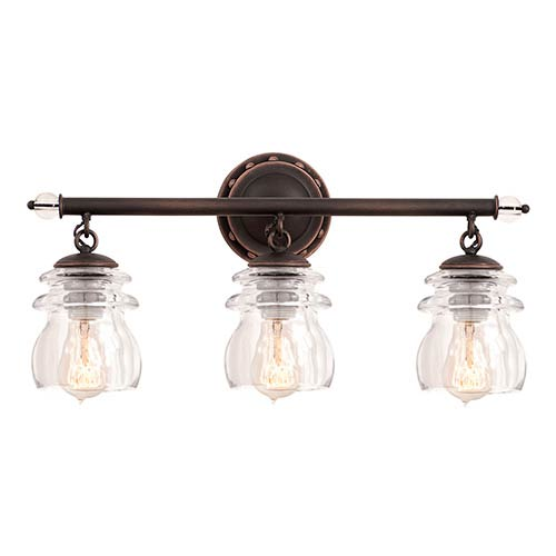 Brierfield Antique Copper Three-Light Bath Fixture