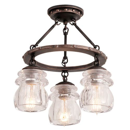 Brierfield Antique Copper Three-Light Semi-Flush
