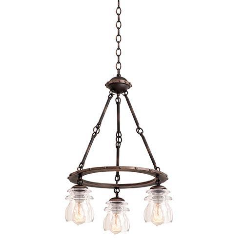 Brierfield Antique Copper Three-Light Chandelier