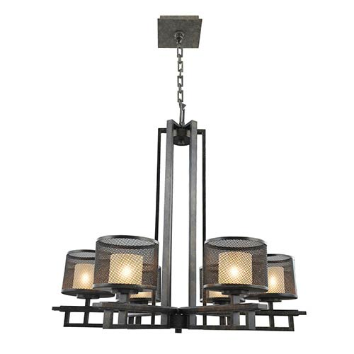 Kalco Lighting Stanley Volcano Bronze Six-Light Chandelier